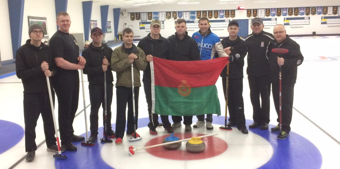 {John and Earle Morris Visit with the Strathcona Curling Team}