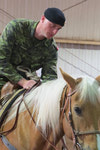 Cpl Stewart getting to know his new ride.